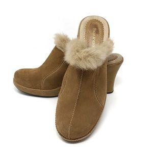 Enzo Angiolini | Tan Suede Fur Lined Mules